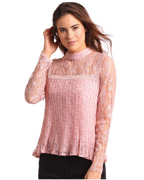 Panhandle Women's Allover Lace Long Sleeve Blouse, Pink, hi-res