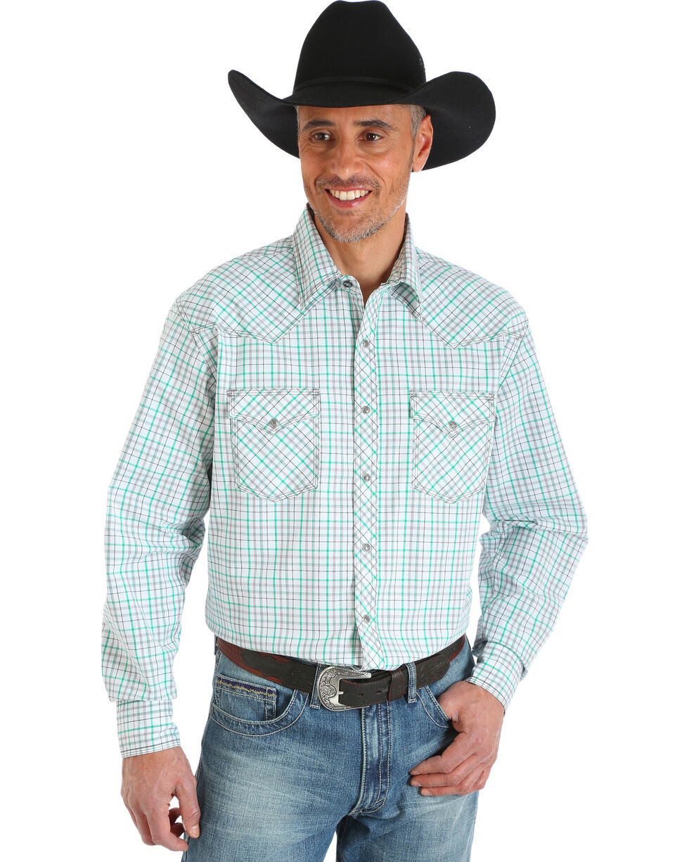 Wrangler 20X Men's White/Green Competition Advanced Comfort Snap Shirt, Green, hi-res