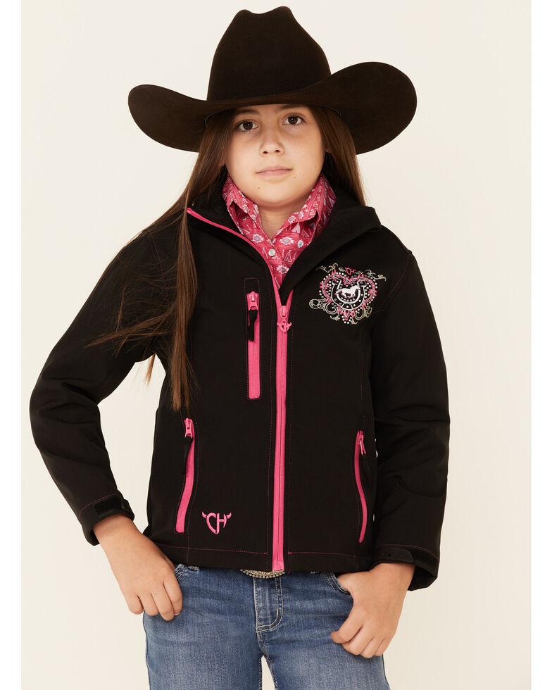 Cowgirl Hardware Girls' Embellished Back Heart Ranch Softshell Jacket , Black, hi-res