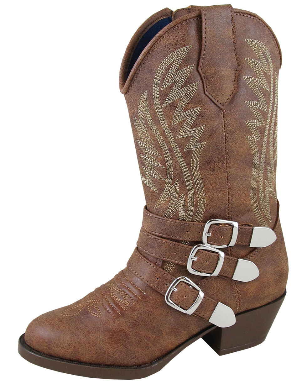 Smoky Mountain Girls' Buckle Up Western Boots - Round Toe, Distressed Brown, hi-res