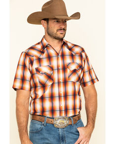 Ely Cattleman Men's Rust Dobby Plaid Short Sleeve Western Shirt , Rust Copper, hi-res