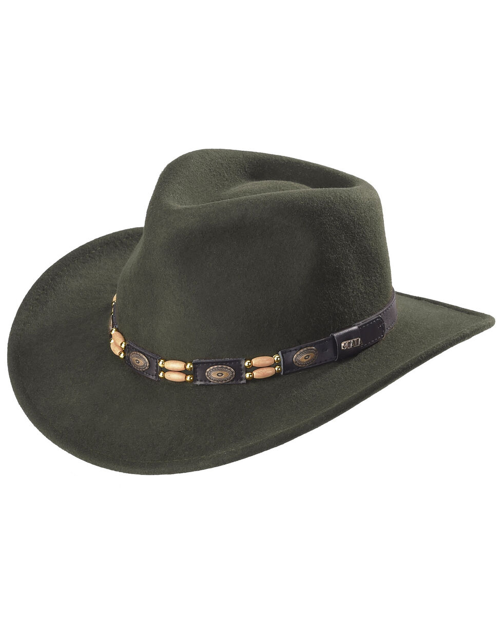 Scala Olive Wool Felt Concho Band Outback Hat, Olive, hi-res