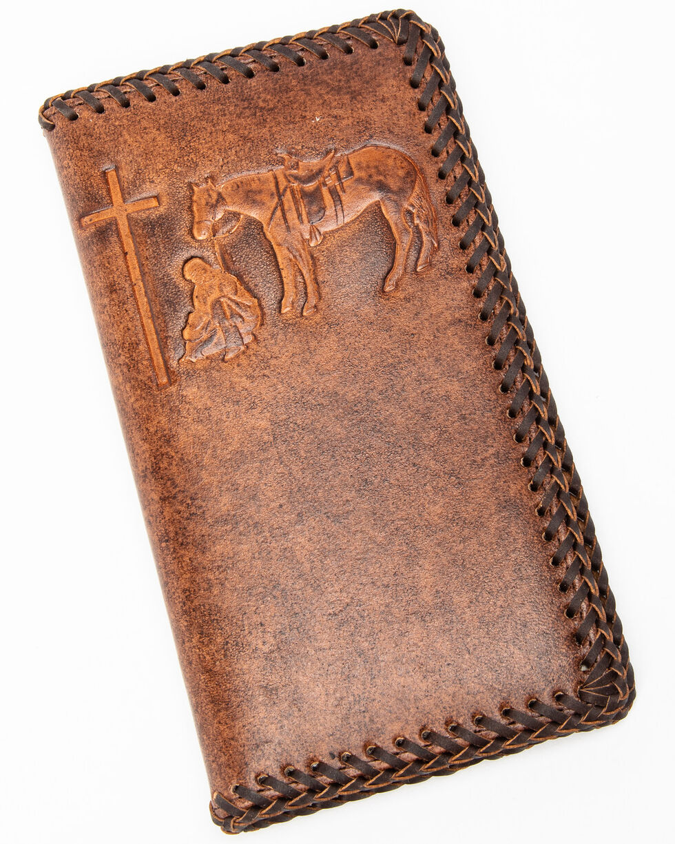 Nocona Hair-on Hide Fancy Overlay Rodeo Wallet, Tan, hi-res