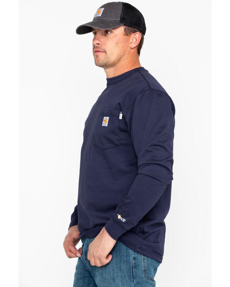 Carhartt Long Sleeve Pocket Fire Resistant Work Shirt, Navy, hi-res
