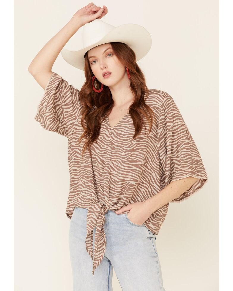 Ariat Women's Zebra Print Tie Front Foster Top , Multi, hi-res