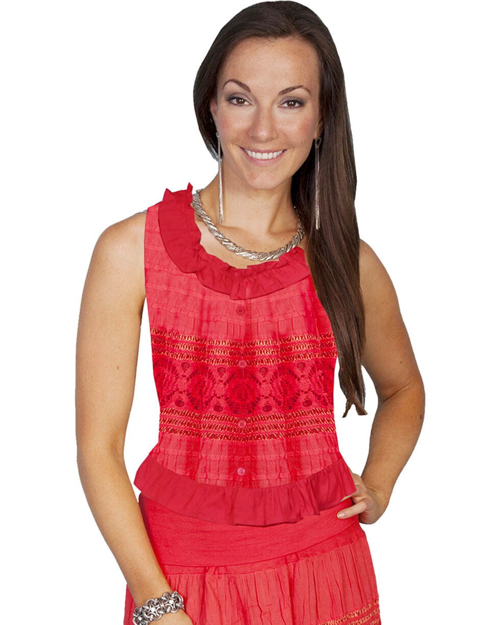 Scully Crocheted Sleeveless Top, Coral, hi-res
