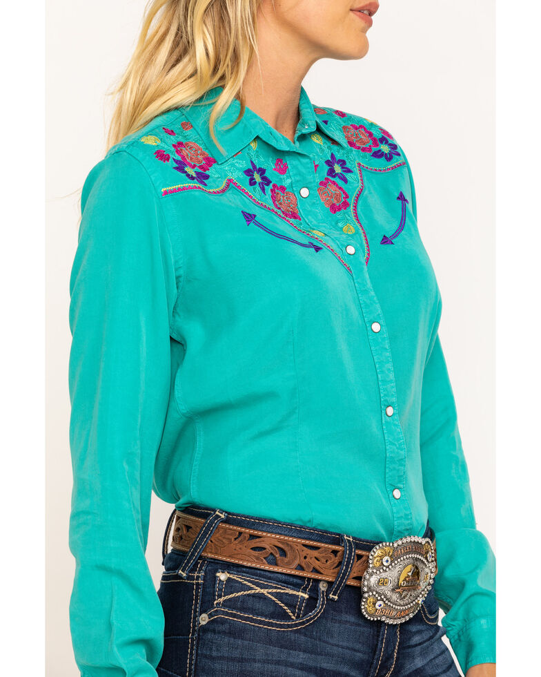 Rough Stock by Panhandle Women's Turquoise Embroidered Long Sleeve Western Shirt  , Turquoise, hi-res
