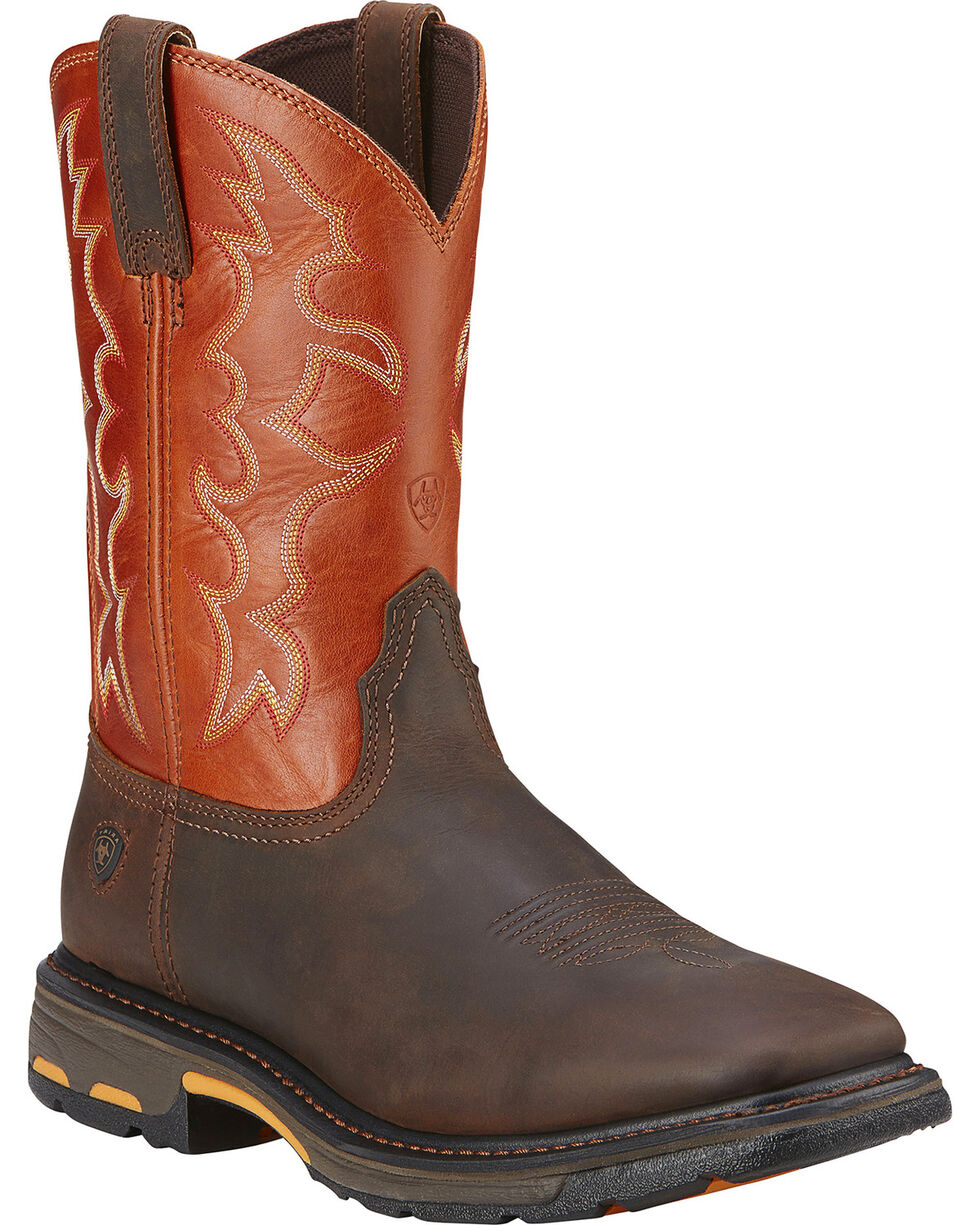 "Ariat Men's Workhog 11"" Steel Toe Work Boots, Earth, hi-res"