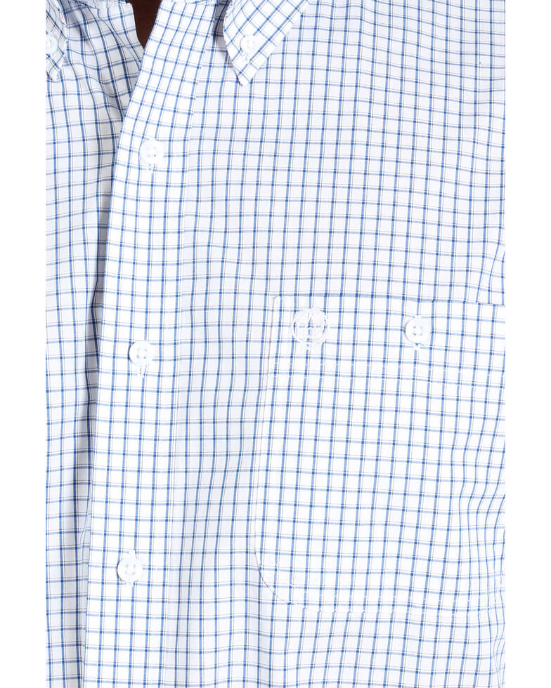 George Strait By Wrangler Men's Mini Check Plaid Button Long Sleeve Western Shirt - Big , Blue/white, hi-res