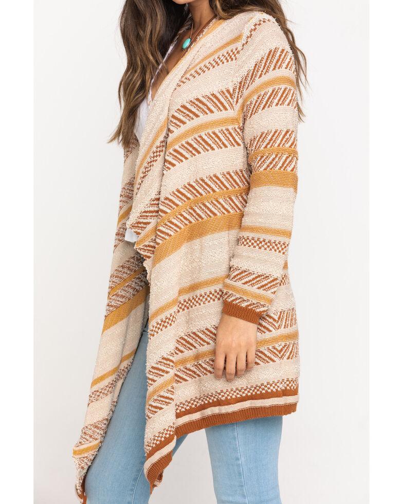 Very J Women's Beige Cascade Stripe Cardigan, Beige/khaki, hi-res
