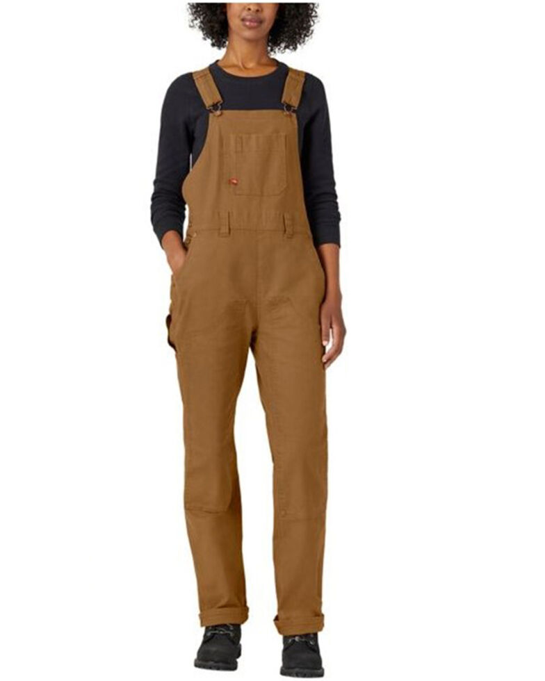 Dickies Women's Brown Double Front Duck Bib Overalls , Brown, hi-res