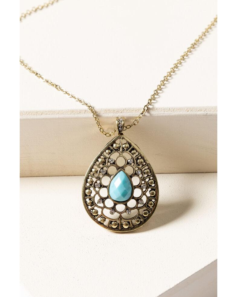 Shyanne Women's Gilded Gold Teardrop Filagree Pendant Necklace, Gold, hi-res