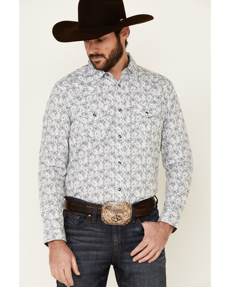 Cody James Men's Painted Paisley Print Long Sleeve Snap Western Shirt , Ivory, hi-res