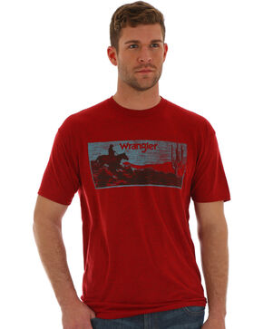 Wrangler Men's Red Western Wanderer Tee , Red, hi-res