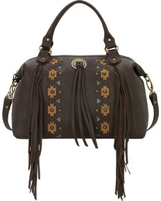 American West Chocolate Chenoa Large Convertible Zip-Top Satchel , Chocolate, hi-res