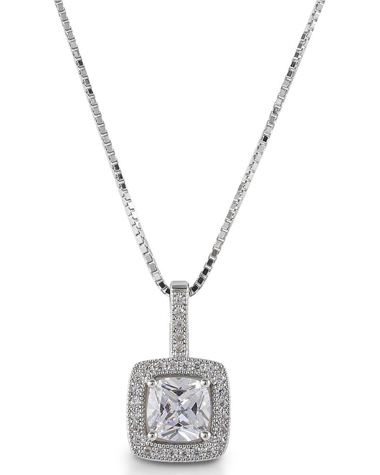 Kelly Herd Women' Square Bezel Set Pave Pendant Necklace, Silver, hi-res