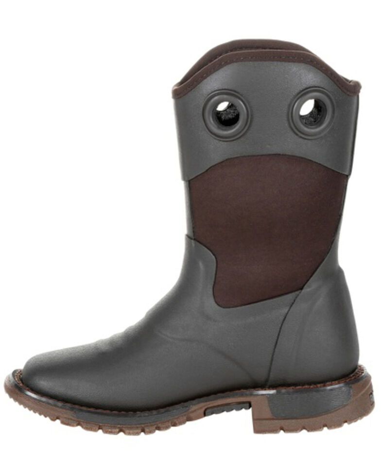 Rocky Boys' Rubber Western Work Boots - Soft Toe, Chocolate, hi-res
