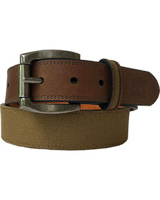 Berne Men's Canvas Strap Leather Belt , Beige/khaki, hi-res