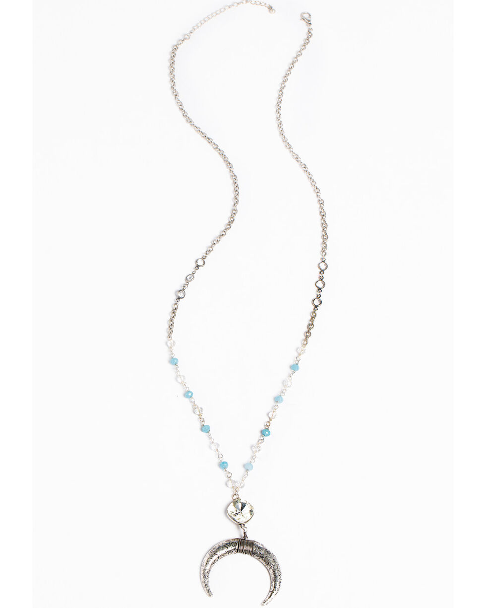 Shyanne Women's Blue & Clear Crystal Beads Drop Wrapped Pendant Necklace, Silver, hi-res