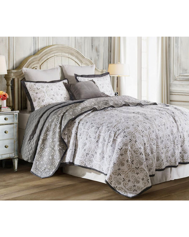 HiEnd Accents 2-Piece Twin Fleur De Lis Bedding Set, White, hi-res