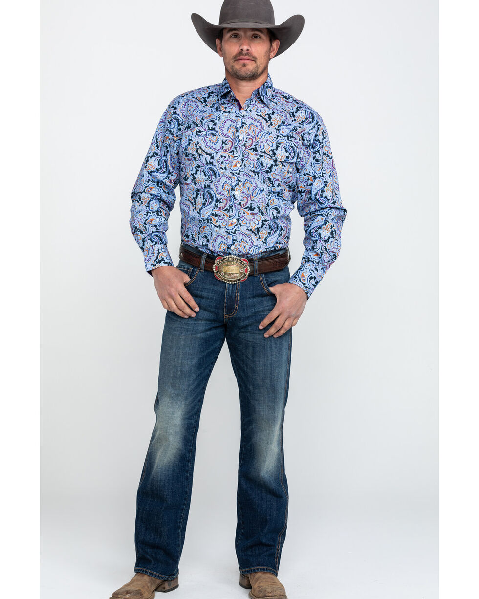 Resistol Men's Holstein Multi Paisley Print Long Sleeve Western Shirt , Multi, hi-res
