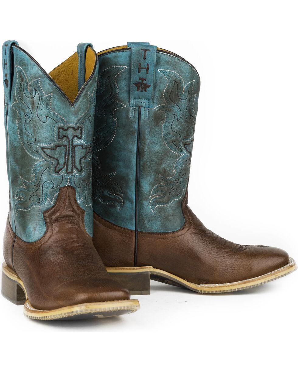 Tin Haul Men's Bronco Rider Sole Cowboy Boots - Square Toe , Tan, hi-res