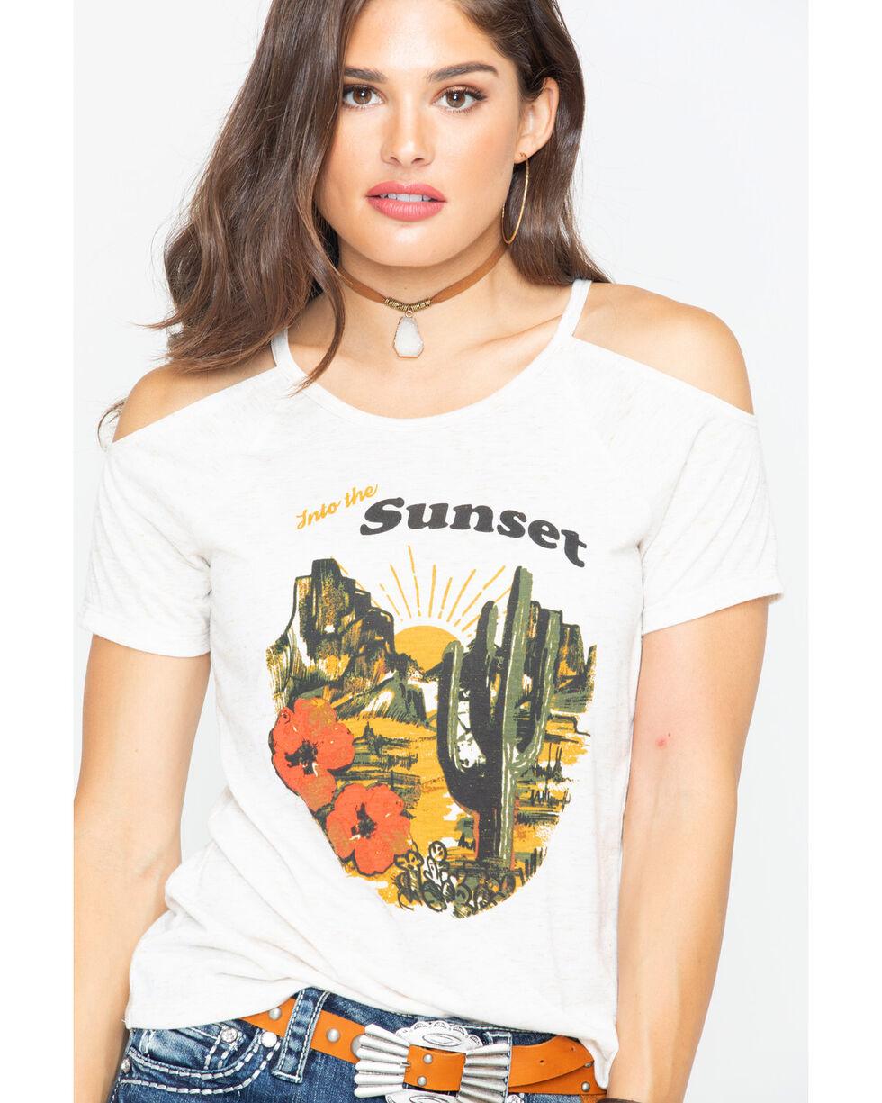 Shyanne Women's Sunset Desert Graphic Cold Shoulder Tee , Oatmeal, hi-res