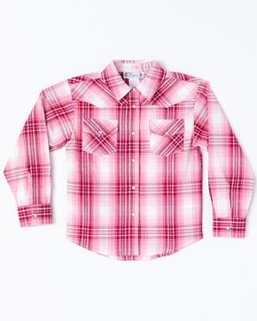 Shyanne Toddler Girls' Lurex Plaid Core Long Sleeve Western Shirt , Pink, hi-res