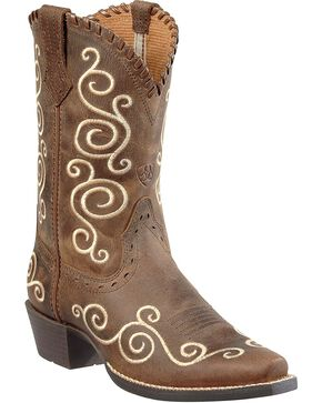 Ariat Youth Shelleen Scrolled Western Boots, Distressed, hi-res
