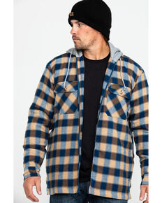 Wrangler Riggs Men's Fleece Hooded Flannel Work Shirt , Navy, hi-res