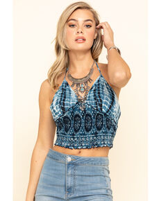 Patrons of Peace Women's Tie Halter Crop Top, Navy, hi-res