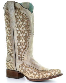 Corral Women's Orix Embroidered Studded Leather Western Boots - Square Toe , Multi, hi-res