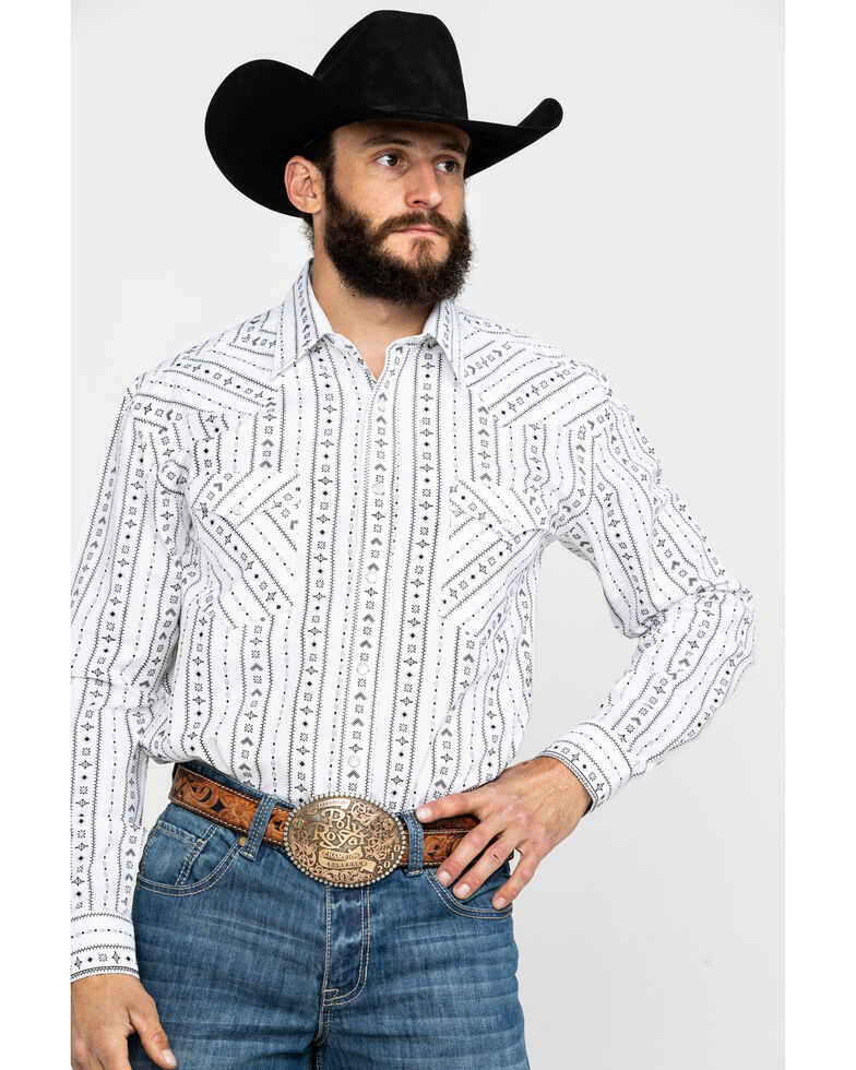 Rough Stock by Panhandle Men's Kaibab Aztec Print Long Sleeve Western Shirt , White, hi-res