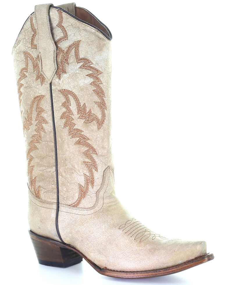 Circle G Women's Sand Embroidery Western Boots - Snip Toe, Sand, hi-res