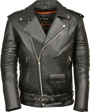 Milwaukee Leather Men's Classic Side Lace Police Style Motorcycle Jacket - Tall - 4XT, Black, hi-res