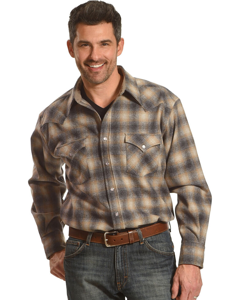 Pendleton Men's Grey/Tan Canyon Ombre Long Sleeve Shirt, Tan, hi-res