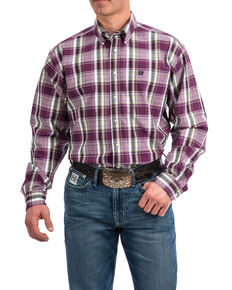 Cinch Men's Purple Plaid Plain Weave Long Sleeve Western Shirt , Purple, hi-res