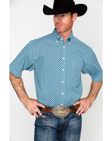 Tuf Cooper Men's Competition Poplin Short Sleeve Western Shirt , Blue, hi-res