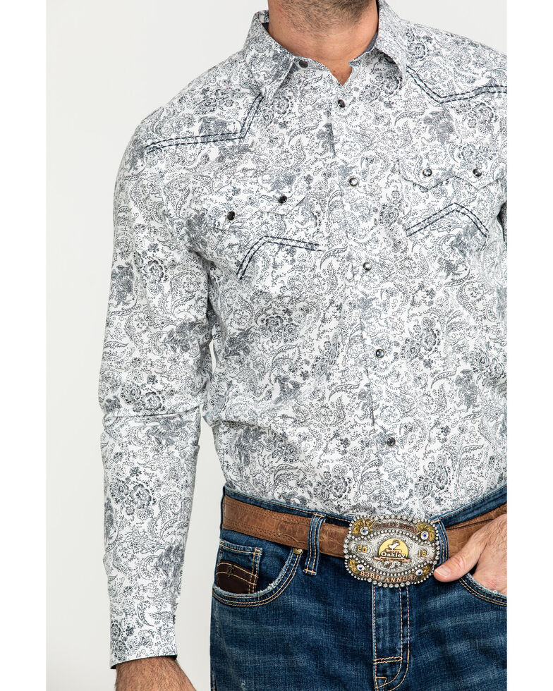 Cody James Men's Tumbleweed Floral Print Long Sleeve Western Shirt , White, hi-res
