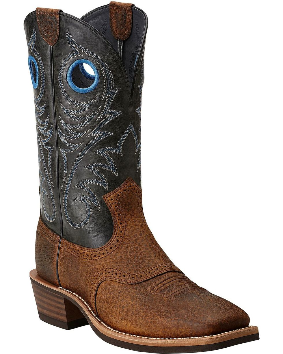 "Ariat Men's 12"" Heritage Roughstock Western Boots, Earth, hi-res"