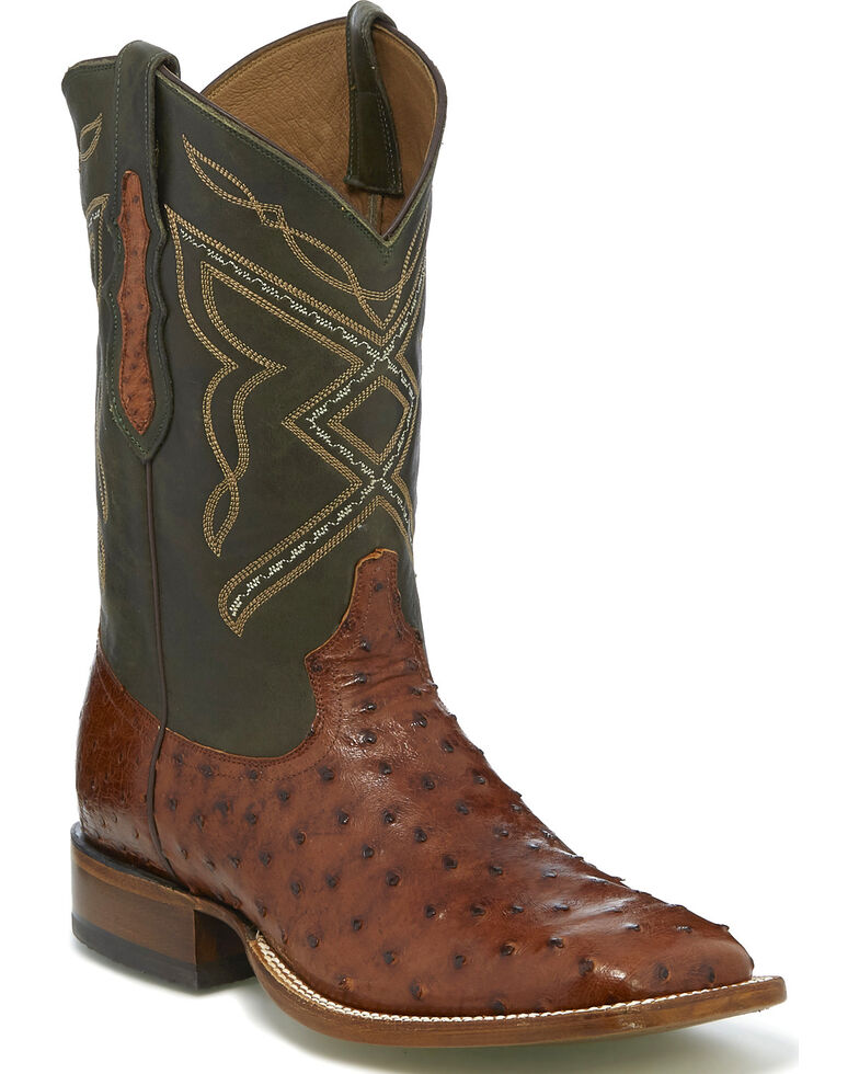 "Tony Lama Men's Dark Brown/Hunter Green 12"" Full Quill Ostrich Cowboy Boots - Square Toe, Brown, hi-res"
