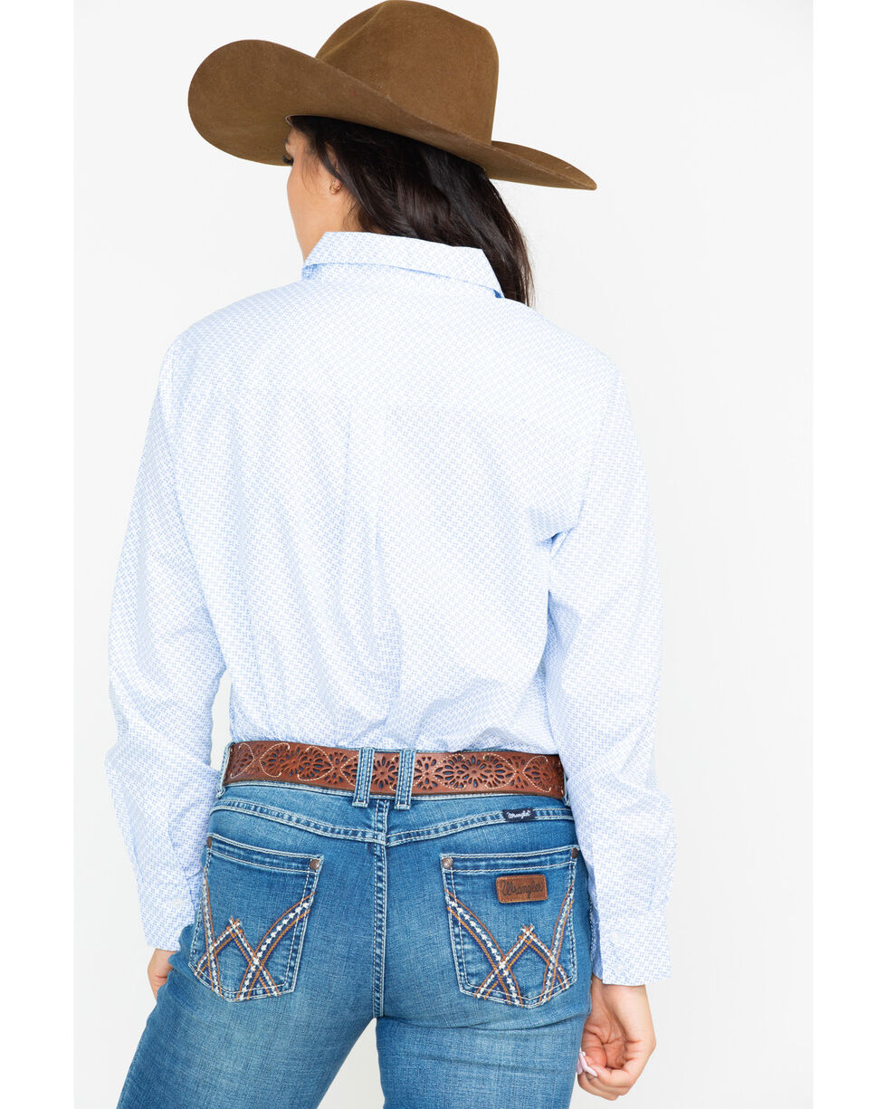 George Strait by Wrangler Women's Core Long Sleeve Western Shirt , Blue, hi-res