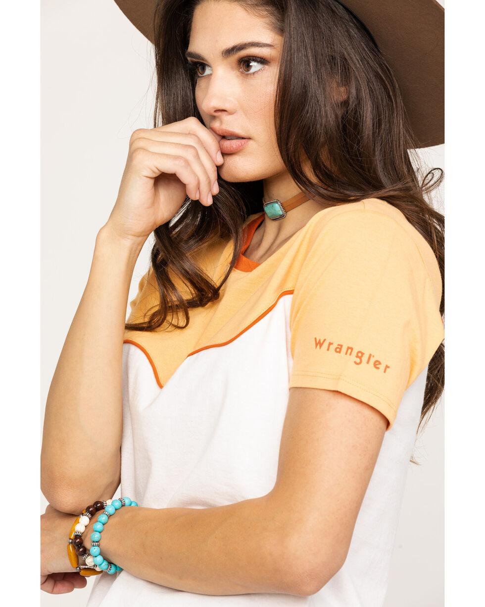 Wrangler Women's Modern Peach & White Boxy Tee, Peach, hi-res