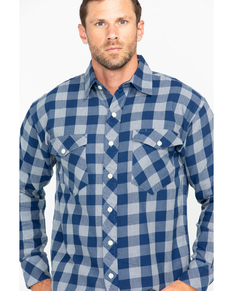 Resistol Men's Marlin Check Long Sleeve Flannel Shirt , Navy, hi-res
