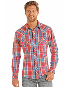 Rock & Roll Cowboy Men's Crinkle Poplin Plaid Long Sleeve Western Shirt , Red, hi-res