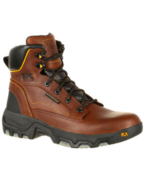 Georgia Boot Men's FLXPoint Waterproof Work Boots - Round Toe, Brown, hi-res