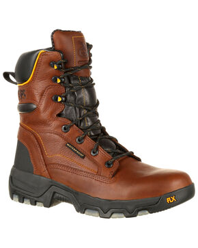 "Georgia Boot Men's FLXPoint 8"" Waterproof Work Boots - Round Toe, Brown, hi-res"