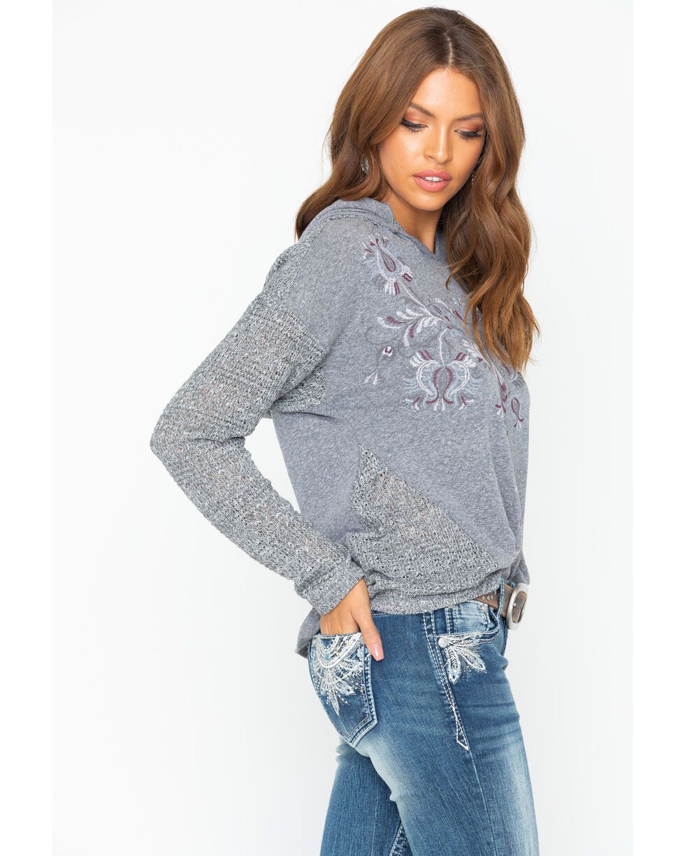 Miss Me Women's Embroidered Hooded Top, Grey, hi-res