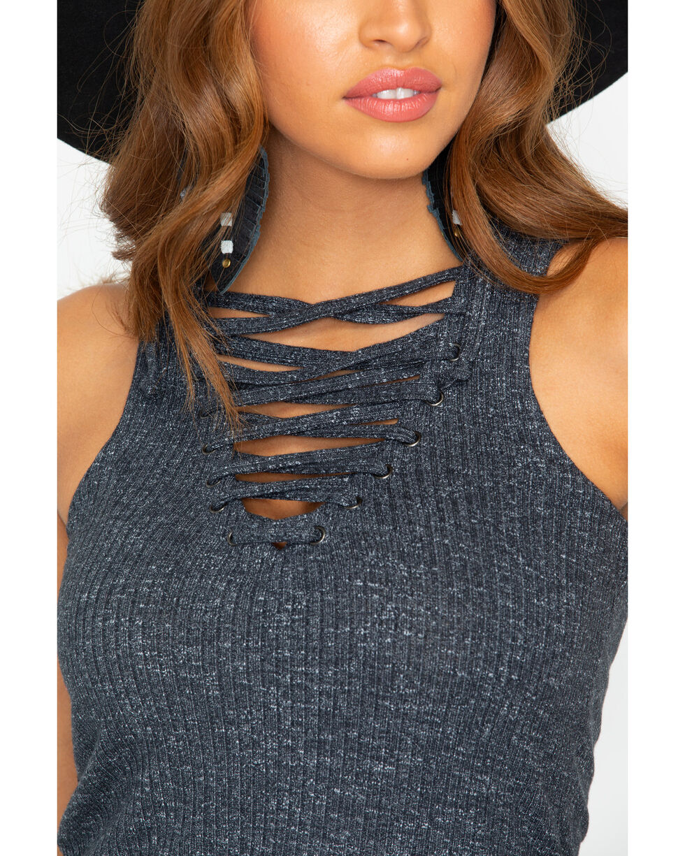 Shyanne Women's Knit Tank Lace Up Sweater , Charcoal, hi-res