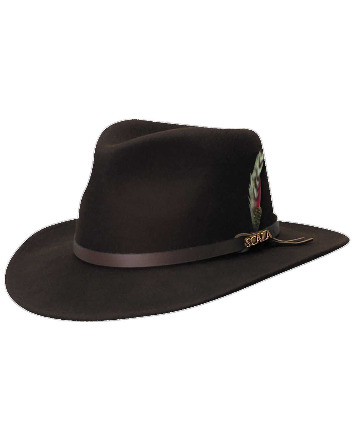 45c5c0df131 Scala Men s Chocolate Brown Crushable Wool Felt Outback Hat